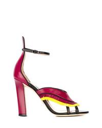 Ярко-розовые кожаные босоножки на каблуке c бахромой от Paula Cademartori