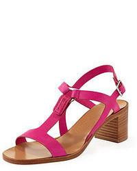 Ярко-розовые кожаные босоножки на каблуке