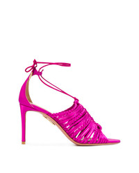 Ярко-розовые кожаные босоножки на каблуке от Aquazzura