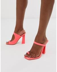 Ярко-розовые кожаные босоножки на каблуке от ASOS DESIGN