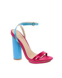 Ярко-розовые кожаные босоножки на каблуке от Asos