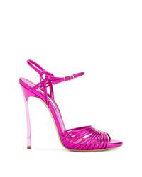 Ярко-розовые кожаные босоножки на каблуке от Casadei