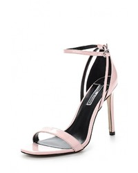 Ярко-розовые кожаные босоножки на каблуке от Dorothy Perkins