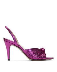 Ярко-розовые кожаные босоножки на каблуке от Gucci