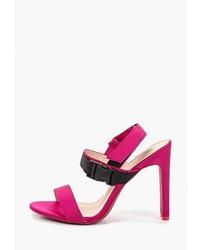 Ярко-розовые кожаные босоножки на каблуке от Ideal Shoes