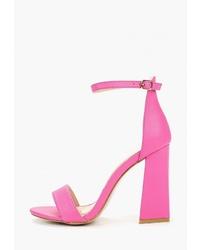 Ярко-розовые кожаные босоножки на каблуке от Malien