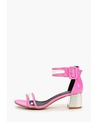 Ярко-розовые кожаные босоножки на каблуке от Sergio Todzi