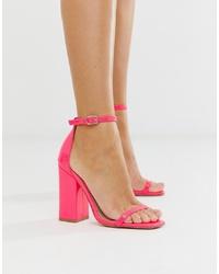 Ярко-розовые кожаные босоножки на каблуке от SIMMI Shoes