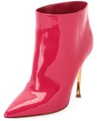 Ярко-розовые кожаные ботильоны