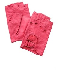 Ярко-розовые кожаные перчатки