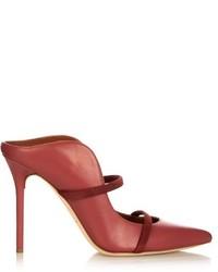 Ярко-розовые кожаные сабо