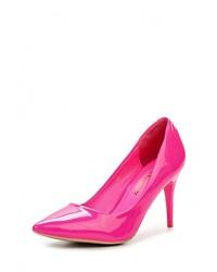 Ярко-розовые кожаные туфли от Exquily