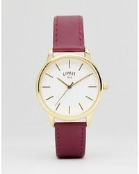 Мужские ярко-розовые кожаные часы от Limit