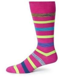 Ярко-розовые носки в горизонтальную полоску