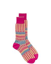 Мужские ярко-розовые носки с принтом от Ayame