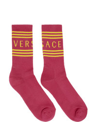 Мужские ярко-розовые носки с принтом от Versace