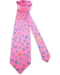 Ярко-розовый галстук с принтом