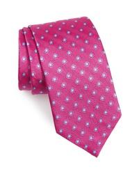 Ярко-розовый галстук с цветочным принтом