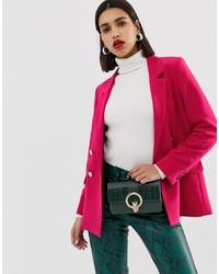 Женский ярко-розовый двубортный пиджак от Warehouse