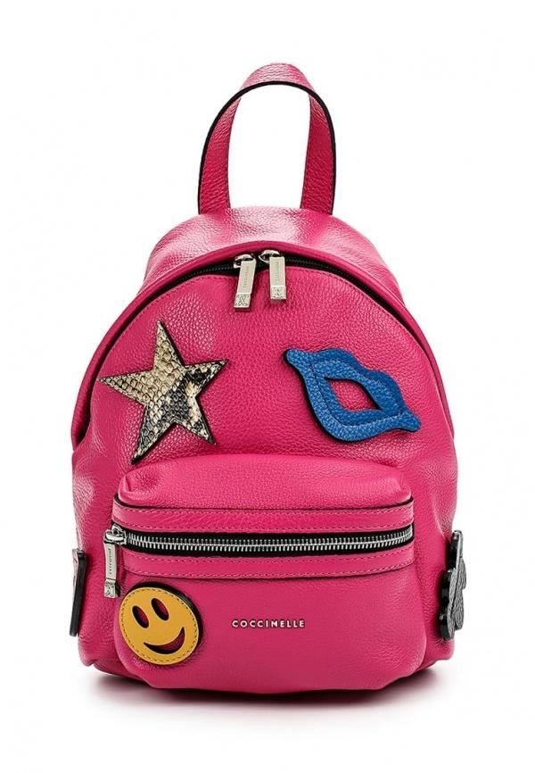 3451a9174af1 ... кожаные рюкзаки Женский ярко-розовый кожаный рюкзак от Coccinelle ...