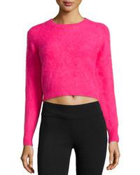 Ярко-розовый короткий свитер