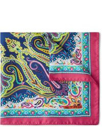 Ярко-розовый нагрудный платок с принтом от Etro