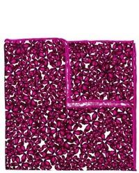 Ярко-розовый нагрудный платок с цветочным принтом