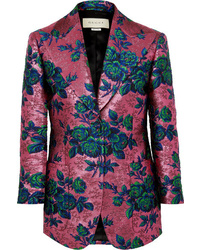 Женский ярко-розовый пиджак из парчи с цветочным принтом от Gucci