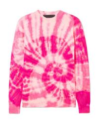 Ярко-розовый свитер с круглым вырезом с принтом тай-дай