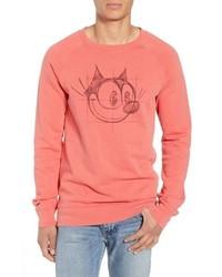 Ярко-розовый свитшот с принтом