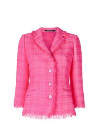 Ярко-розовый твидовый жакет