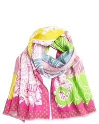 Ярко-розовый шарф с принтом