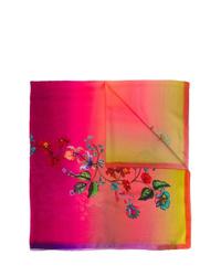 Женский ярко-розовый шелковый шарф с принтом тай-дай от Etro
