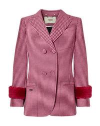 """Женский ярко-розовый шерстяной пиджак с узором """"гусиные лапки"""" от Fendi"""