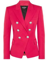 Женский ярко-розовый шерстяной пиджак от Balmain