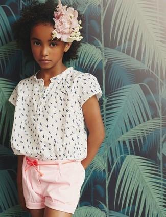 Детская белая блуза с коротким рукавом для девочке