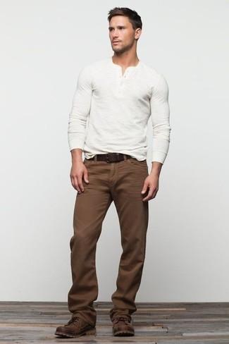 Мужские темно-коричневые кожаные повседневные ботинки от Jack & Jones