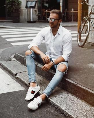 Мужская белая рубашка с длинным рукавом от Celio