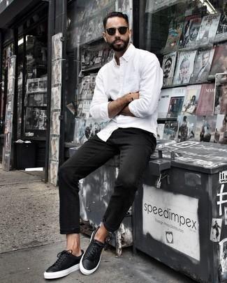 Мужские черные кожаные кеды от Martin Pescatore