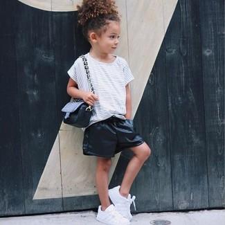 Детская белая футболка в горизонтальную полоску для девочке от Dolce & Gabbana