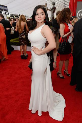 белое вечернее платье оранжевые серьги large 8016