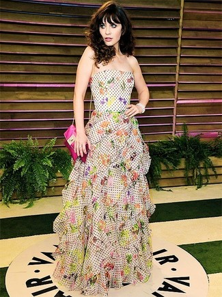 белое вечернее платье с принтом ярко розовая кожаная сумка через плечо large 1395