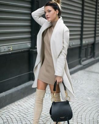 f41e2a07265 Бежевое вязаное платье-свитер от Asos