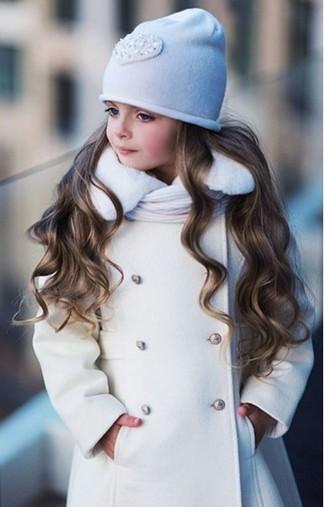 Как и с чем носить: белое пальто, белая шапка, белый шарф