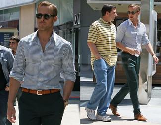бело темно синяя рубашка с длинным рукавом темно зеленые классические брюки светло коричневые туфли дерби коричневый ремень large 52