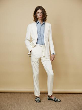 a2dfaef55d9e Как и с чем носить: белый костюм, голубая рубашка с длинным рукавом, темно