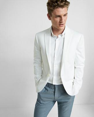 Как и с чем носить: белый пиджак, белая классическая рубашка, синие классические брюки
