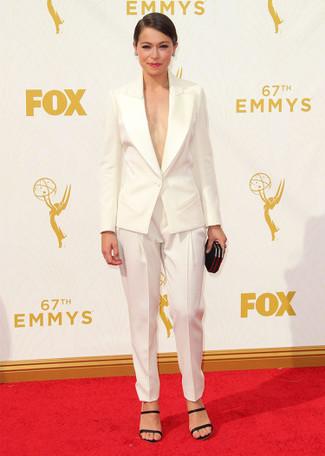 белый пиджак белые брюки галифе черные босоножки на каблуке large 13698