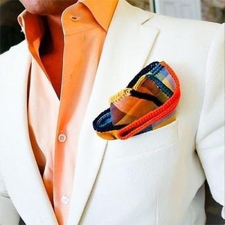 Как и с чем носить: белый пиджак, оранжевая классическая рубашка, разноцветный нагрудный платок в шотландскую клетку