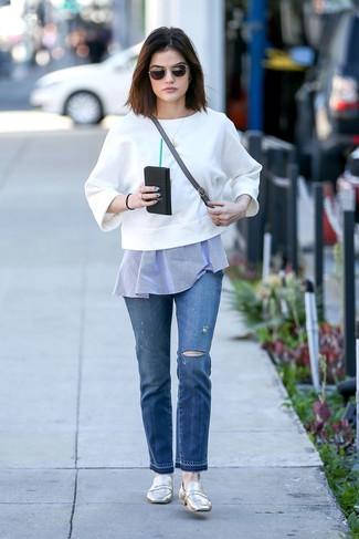 белый свитшот синяя туника синие джинсы large 27420